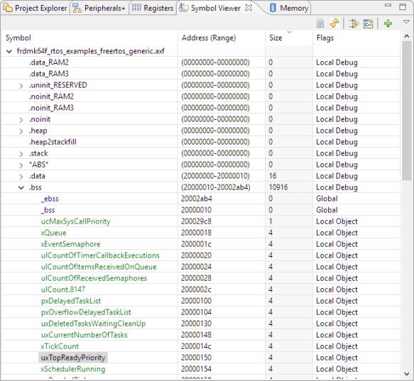Symbol Viewer in MCUXpresso IDE