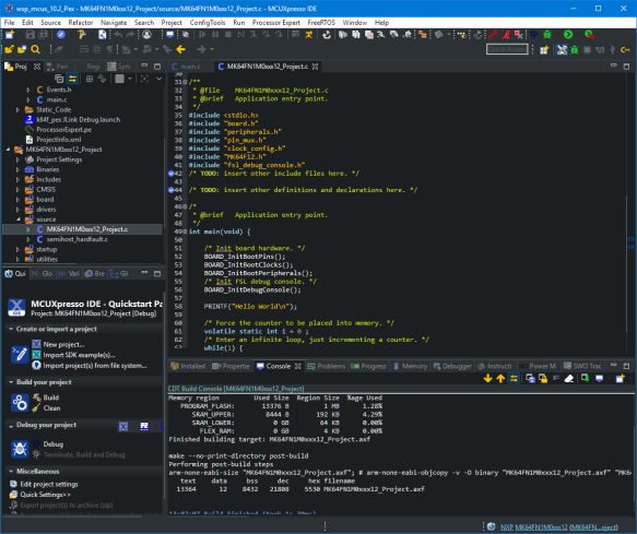 Darkest Dark Theme with MCUXpresso IDE