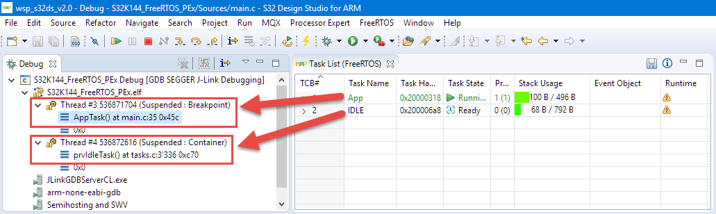 Show FreeRTOS Threads in Eclipse Debug View with SEGGER J