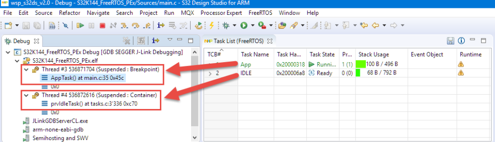 FreeRTOS Threads in Eclipse Debug View