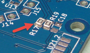 Resistors placed on PCB