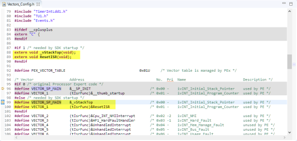 Changes for SDK in Vectors_Config.h