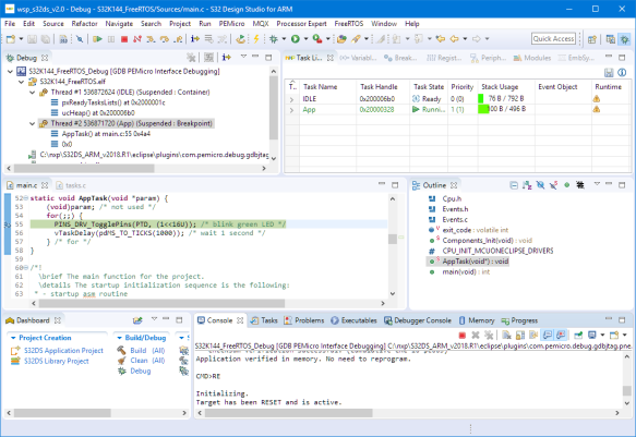 Debugging FreeRTOS Application in S32DS