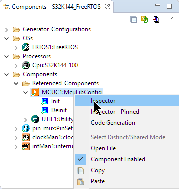 Inspector for the McuLibConfig component