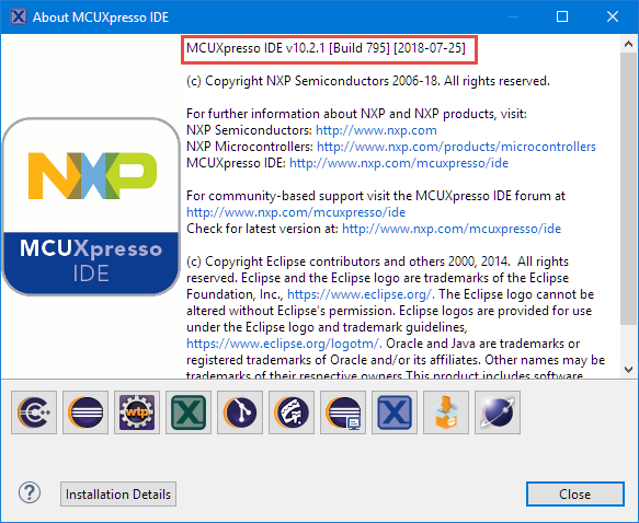 MCUXpresso IDE 10.2.1 build 795