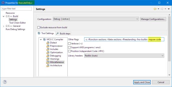 -mpure-code for a source file