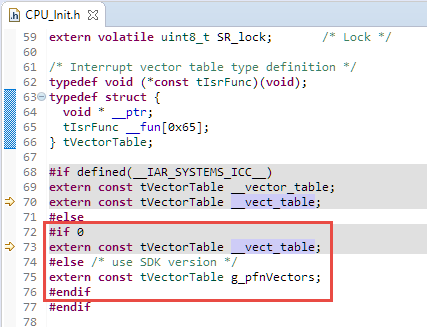 Name of Vector table ini CPU_Init.h