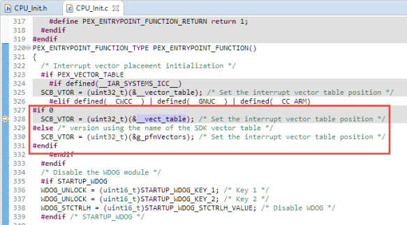 Vector table usage in CPU_Init.c