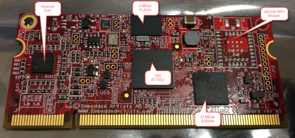 Embedded Artist NXP i.MX RT1052 OEM Board Top Side