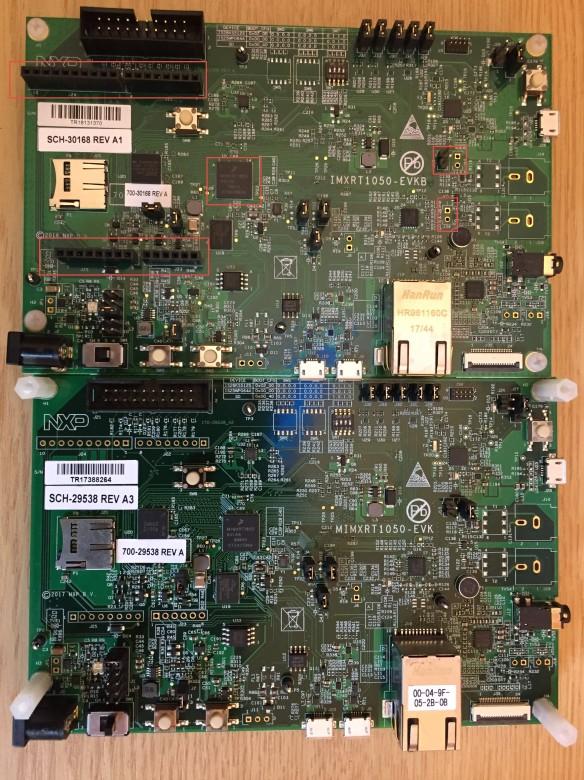 i.MX RT1050 EVK vs. EVKB