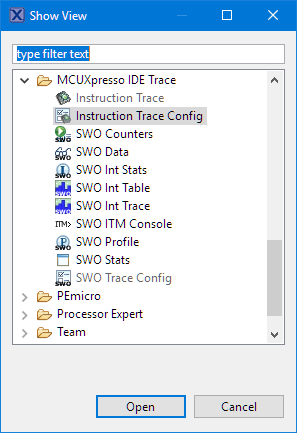 MCUXpression IDE Trace