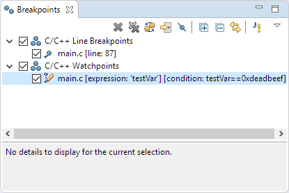 Watchpoint in Breakpoint View