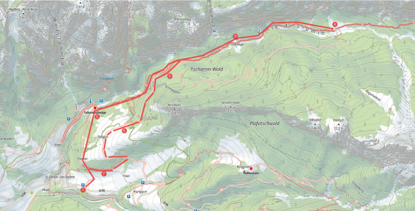Hiking Tschamin Valley Map