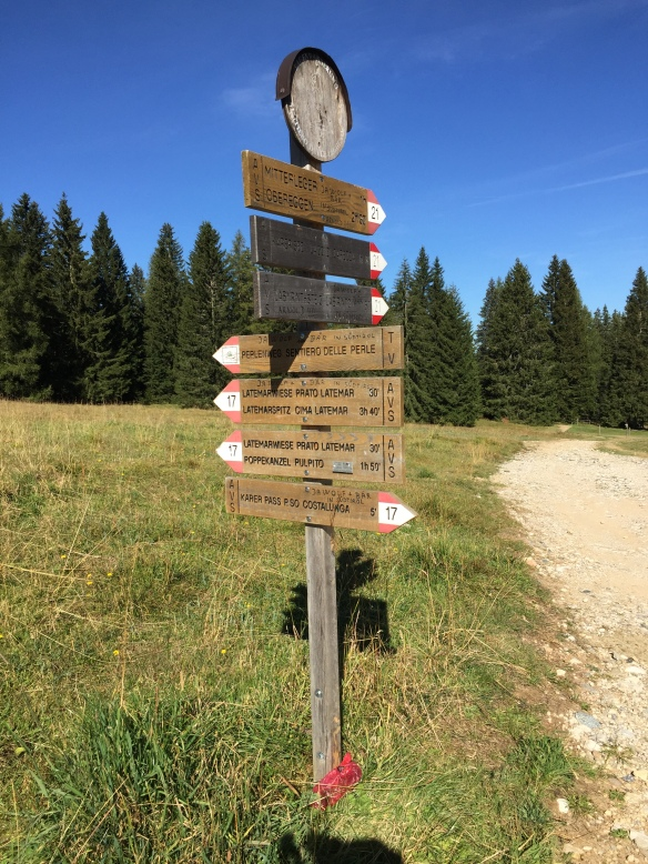 Signpost at Karerpass