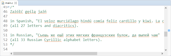 Comment with UTF-8 in Eclipse