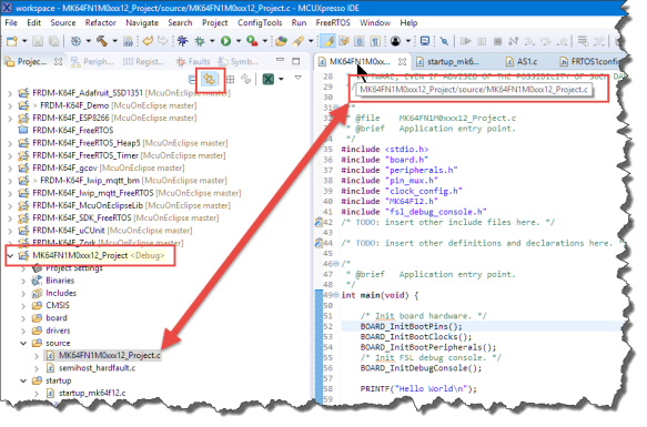 Highlighted Current Project and Source