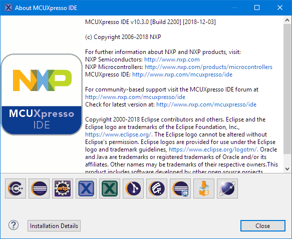 MCUXpresso IDE 10.3.0 build 2200