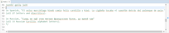 Source file using UTF-8 wide characters
