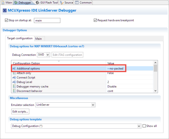 --no-packet option in LinkServer Launch configuration