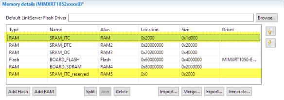 changed ram memory map