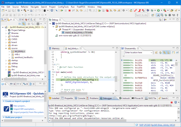 Debugging with MCUXpresso IDE