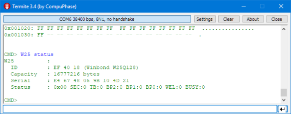 Driver and Command Line Shell for Winbond W25Q128 16MByte Serial