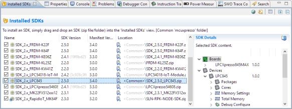 Installed SDK for LPC845