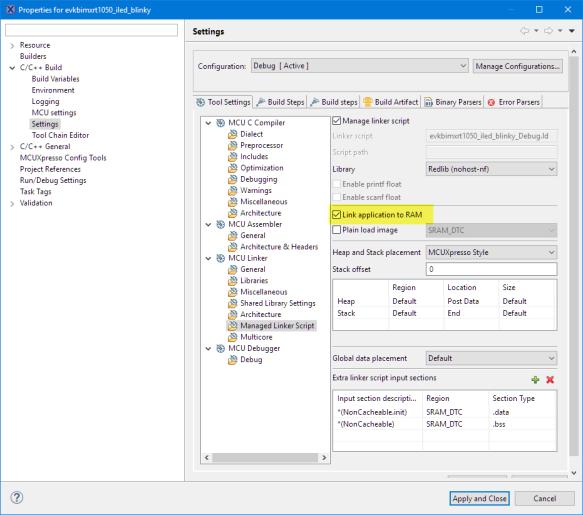 link application to ram in linker settings