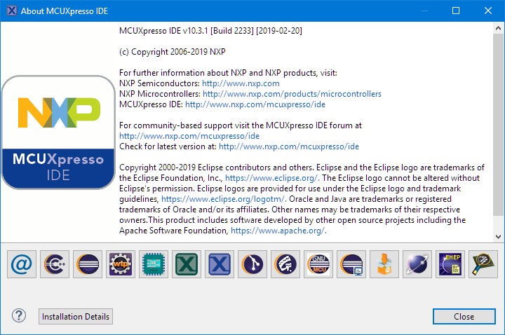 MCUXpresso 10.3.1 About Information