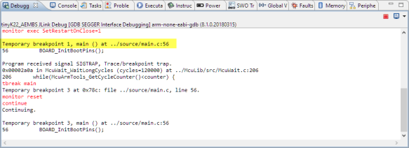 Temporary Breakpoint in Debugger Console