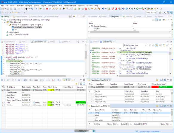 Debugging RISC-V FreeRTOS Applicaiton with MCUXpresso IDE on
