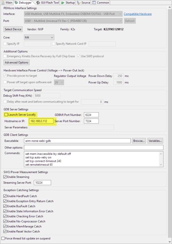 PEMicro Remote GDB Settings