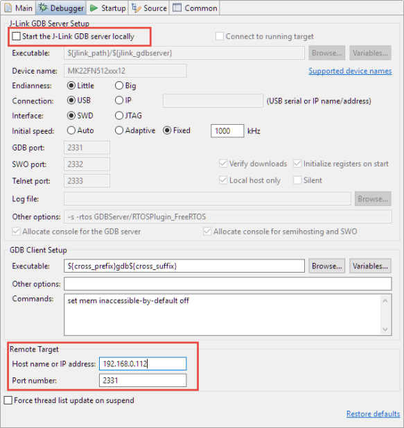 Remote Debugging in GNU MCU Eclipse
