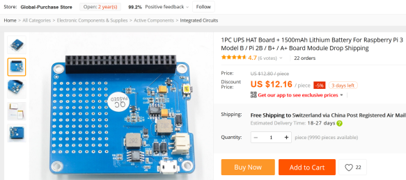 Aliexpress UPS HAT Board