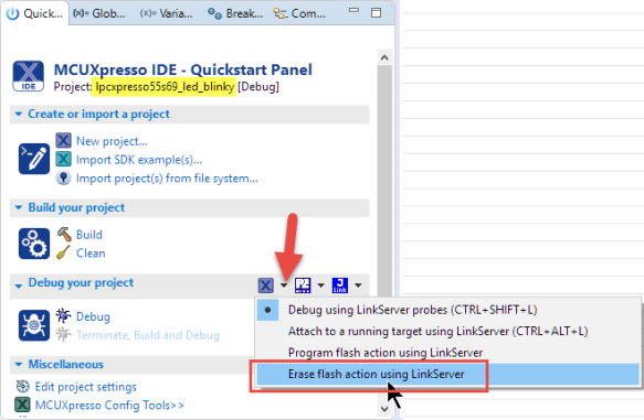 Erase Flash Using Linkserver