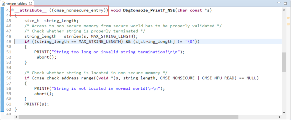 Function with cmse_nonsecure_entry attribute