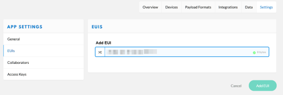 Changing App EUI