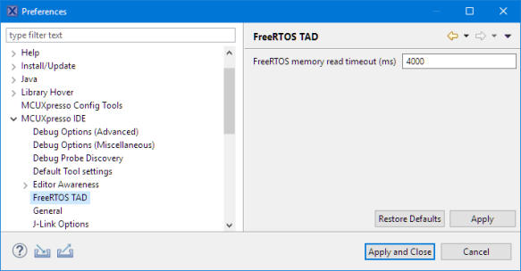FreeRTOS Memory Read Timeout