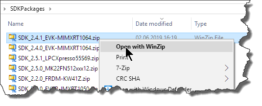 Open SDK zip file