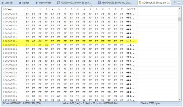Bootloader Configuration Data in Binary
