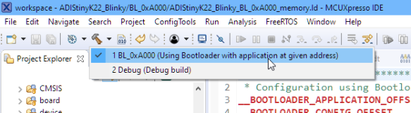 Build Configuration for Bootloader Application