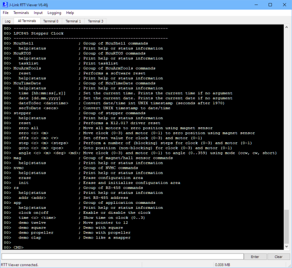 SEGGER RTT Command Line Interface