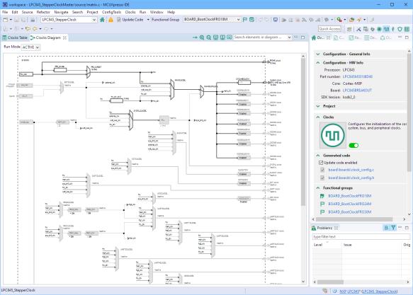 MCUXpresso IDE with Clock configuration