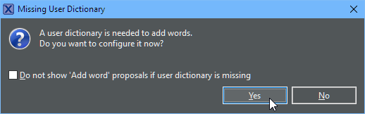 Adding Missing User Dictionary in Eclipse