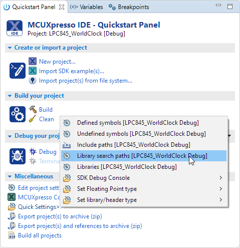 Quickstart Panel: Library Search Path