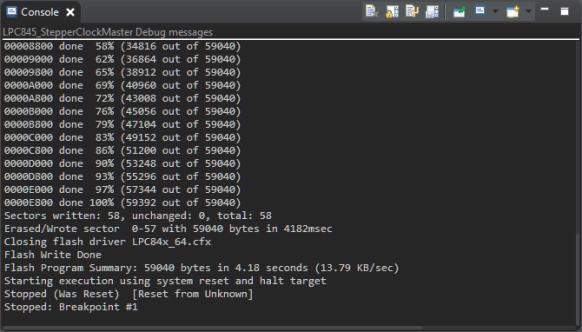 LinkServer Debug Console Output