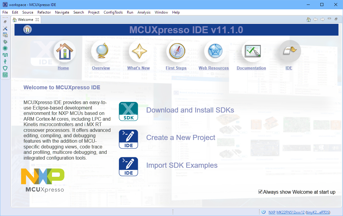 MCUXpresso IDE V11.1.0 Welcome Screen