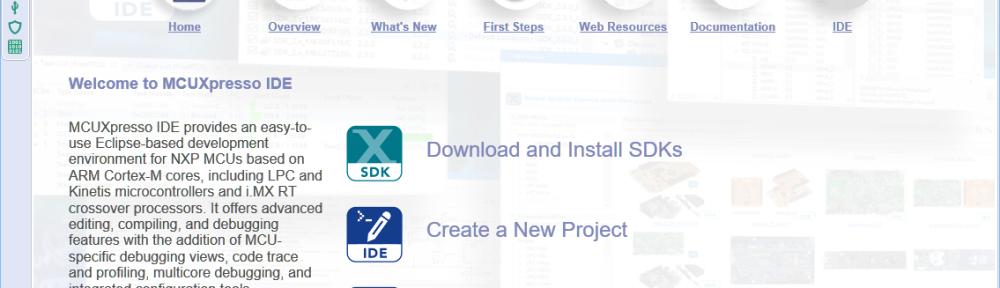 MCUXpresso IDE V11.1.0 Welcome Screen