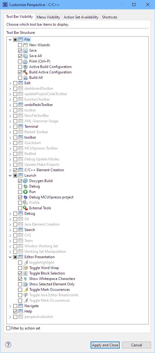 C/C++ Toolbar Visibility