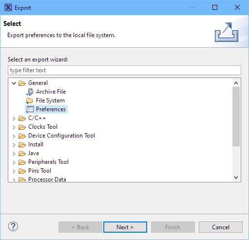 Export Preferences